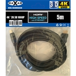 MAXAM 5M HDMI Cable M-M 28AWG Gold ver1.4 (Polybag) Retail
