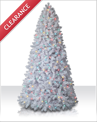 10 Foot Shimmering White Artificial Christmas Trees with Multi Lights
