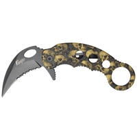 Karambit Assisted Opening Knife - Brown Skulls