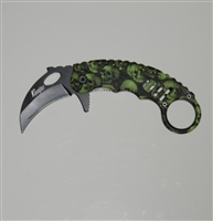 Karambit Assisted Opening Knife - Green Skulls