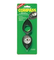 Liquid filled compass with LED illuminated dial. Lid with built-in magnifier. Bezel with direction setting arrow. Batteries included.