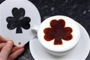 SHAMROCK WITH STEM COFFEE STENCIL