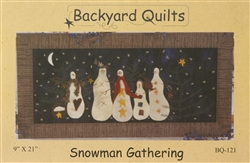 Snowman Gathering Pattern Wool Applique