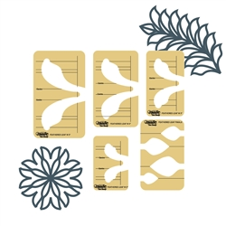 Feathered Leaf 5 Piece Template Set