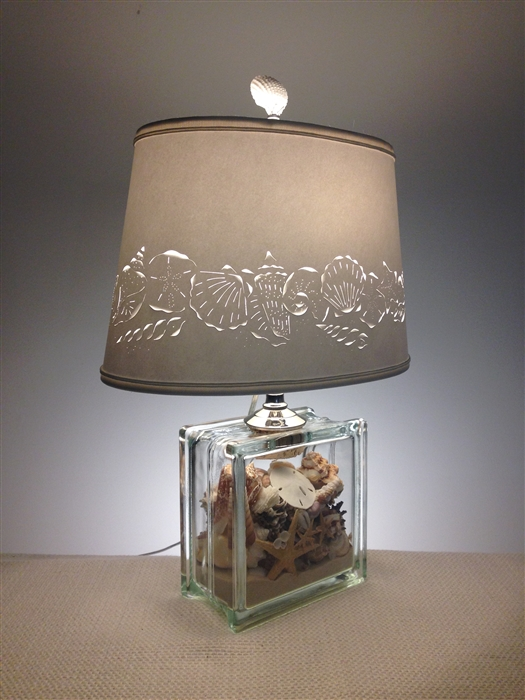 Seashell Filled Glass Block Lamp