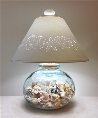 "Sand & Shell ""Bean Jar"" Glass Lamp"