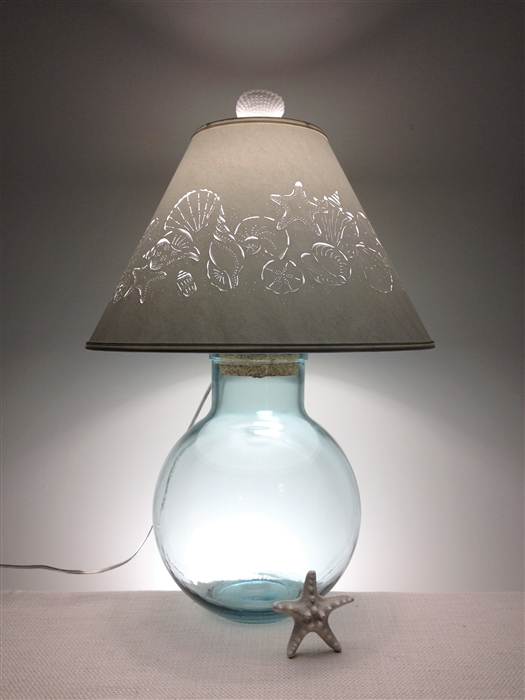Fillable Lamp with Sea Shell Lampshade