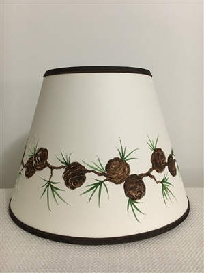 Hand Painted Pine Cone Design Lampshade