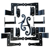 "Stainless Steel Shutter Hinges Stone 4 1/4"" Offset (Set of 6) with Aluminum Shutter Stays for Shutters 48""-95"" Tall"