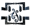 "Stainless Steel Shutter Hinges Brick 2-1/4"" Offset (Set of 4) with Aluminum Shutter Dog Stays for Shutter Pair Less than 48"" Tall"