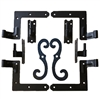 "Steel Shutter Hinges Siding 1 1/4"" Offset (Set of 4) with Steel Shutter Dog Stays for Shutter Pair less than 48"" Tall"