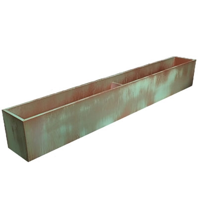 "69.5""L x 8""H x 7.25""W PVC Liner with Metal Effects Tarnished Copper Coating For Flowers"