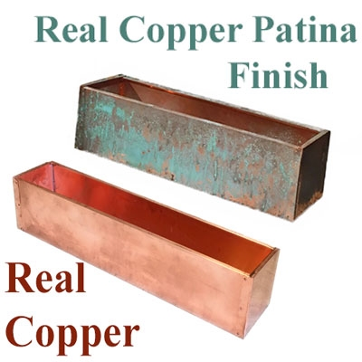 "27.5""L x 8""H x 7.25""W Real Copper Window Box Liner"
