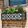 "24"" Nottingham Aluminum Window Box With Ornamental Wrought Iron X-Pattern And Flower"