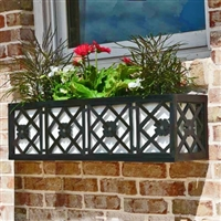"108"" Nottingham Aluminum Window Box With Ornamental Wrought Iron X-Pattern And Flower"