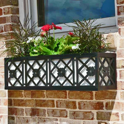 "72"" Nottingham Aluminum Window Box With Ornamental Wrought Iron X-Pattern And Flower"