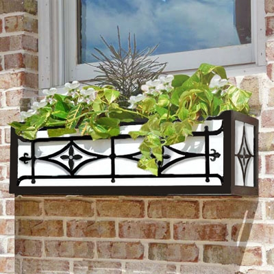 "30"" Oxford Welded Cast Iron Window Box With Heavy Duty Steel Frame"