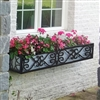 "96"" Savannah Wrought Iron Window Box With Ornamental Scroll Work"