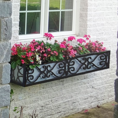 "84"" Savannah Wrought Iron Window Box With Ornamental Scroll Work"