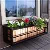 "36"" Springfield Square Rectangular Pattern Black Metal Window Boxes With Copper Liner"