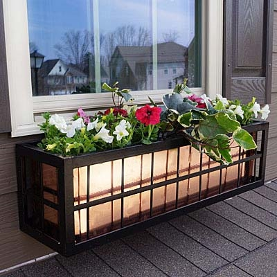 "48"" Springfield Square Rectangular Pattern Black Metal Window Boxes With Copper Liner"