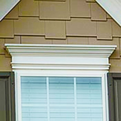 "54"" - Custom No Rot PVC Pediment And Window Header With Crown Moulding And Base Trim"