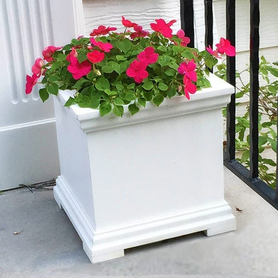 "16"" x 16"" x 16"" Charleston Small PVC Outdoor Planter"