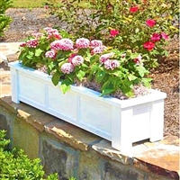 "60"" Daisy Self Watering PVC Rectangular Planter Box With Corner Legs And Horizontal Trim"