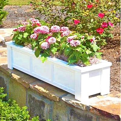 "66"" Daisy Self Watering PVC Rectangular Planter Box With Corner Legs And Horizontal Trim"