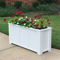 "48"" Daisy Self Watering PVC Rectangular Planter Box With Corner Legs And Horizontal Trim"