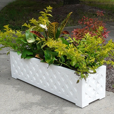 "48"" Lattice Long Rectangular PVC Planter"