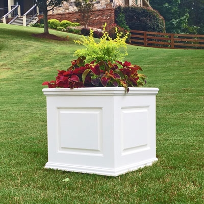 "22"" x 22"" x 22"" Manhattan Deluxe White Decorative PVC Planter With Raised Panel Design"