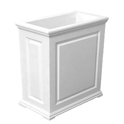 "36""Long x 30""High x 18""Wide Manhattan Deluxe White Decorative PVC Planter With Raised Panel Design"