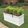 "36""Long x 18""High x 18""Wide Manhattan Deluxe White Decorative PVC Planter With Raised Panel Design"
