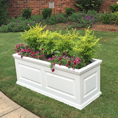 "72""Long x 18""High x 18""Wide Manhattan Deluxe White Decorative PVC Planter With Raised Panel Design"