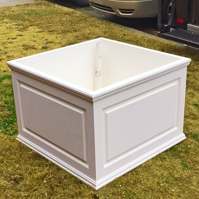 "42"" x 30"" x 42"" Manhattan Deluxe White Decorative PVC Planter With Raised Panel Design"