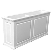 "72""Long x 30""High x 18""Wide Manhattan Deluxe White Decorative PVC Planter With Raised Panel Design"
