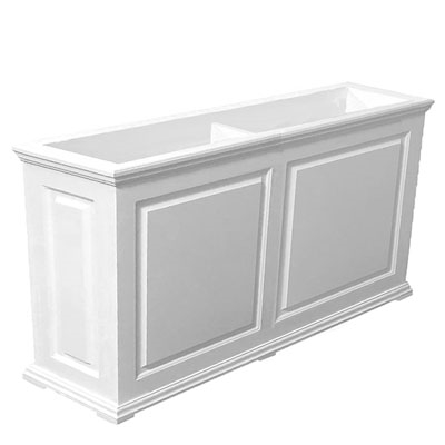 "60""Long x 30""High x 18""Wide Manhattan Deluxe White Decorative PVC Planter With Raised Panel Design"