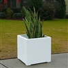 "22"" x 22"" x 22"" Modern Long, Large Simple White Outdoor Planter"