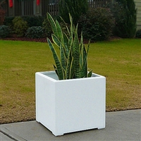 "16"" x 16"" x 16"" Modern Plain, Simple Square Planter For Outdoors In White"