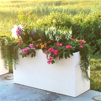"24"" x 15"" x 60"" Modern Long, Large Simple White Outdoor Planter"