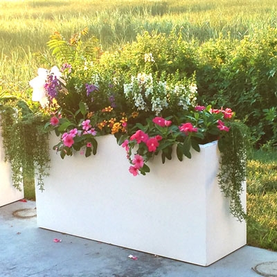 "24"" x 15"" x 72"" Modern Long, Large Simple White Outdoor Planter"