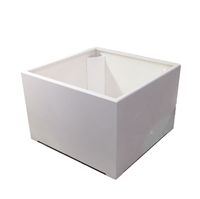 "36"" x 24"" x 36"" Modern Plain, Simple Square Planter For Outdoors In White"