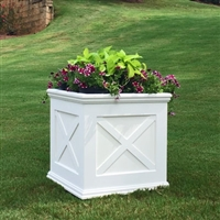 "42""Long x 30""High x 42""Wide Pennsylvania Deluxe Large Heavy Duty Plastic Planter With X Cross Pattern"