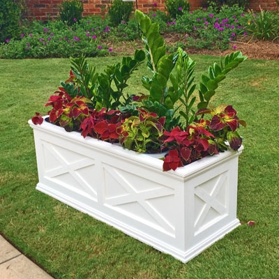 "36""Long x 22""High x 22""Wide Pennsylvania Deluxe Large Heavy Duty Plastic Planter With X Cross Pattern"