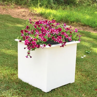 "22"" Cube Cunningham Decorative White Plastic Planter"
