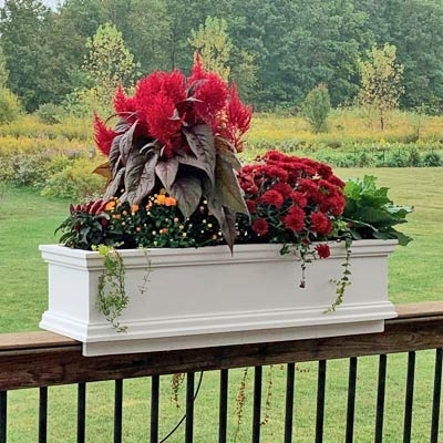 "48"" Charleston Railing Planter For Porch And Deck Rails"