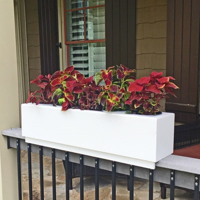 "48"" New Age Modern Railing Planter For Porch And Deck Rails"