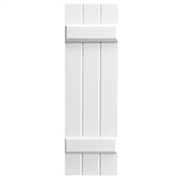 White Unpainted Sample Board and Batten Composite PVC Exterior Shutter