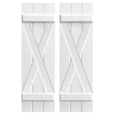 board and batten composite pvc shutter with X Batten